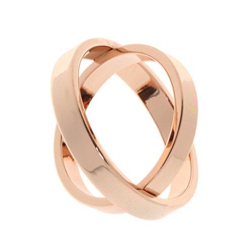 Or Rose Broche Echarpe Foulard Double Anneaux Clip Boucle de Vêtements  Bijoux Cadeau Mode pour Femmes 82178d40e8c