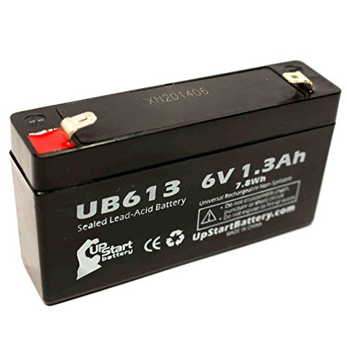 STAR TRAC 800-3102 Battery - Replacement UB613 Universal Sealed Lead Acid Battery (6V, 1.3Ah, 1300mAh, F1 Terminal, AGM, SLA) - Includes TWO F1 to F2 Terminal Adapters (Universal Electronics Batteries compare prices)