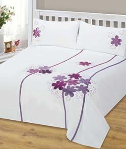 Purple Double Bed Duvet Cover Bedding Set Martina Floral Designer Modern Embroided Embellished