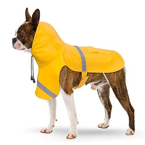 Hunderegenmantel, PETBABA Reflektierend Wasserdicht Hune Regenjacke mit Kapuze für Hunde Gelb XL