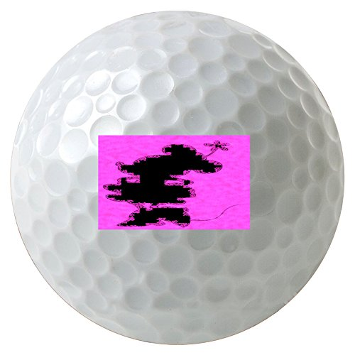 Cute Mouse Silhouette Pink Design Print Image 3-Pack Printed Golf Balls (Cartoon Charachters)
