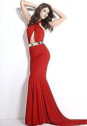 Madaam Women Red Cutout Mermaid Dress with Gold Belt(WEVENLC6599) (Medium)