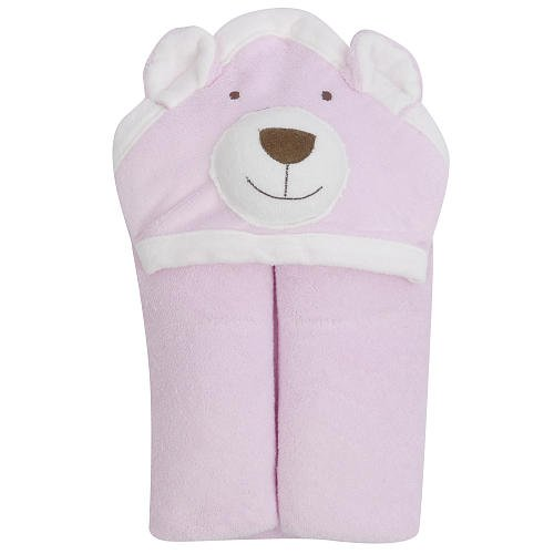 FAO Schwarz Hooded Animal Bath Wrap 100% USA Grown Cotton- PINK - 1