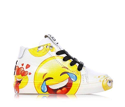 BE KOOL - Scarpa Emoticons Sneaker bianca stringata in pelle, Bambina-22