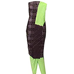 APKAMART Women Cotton Tie and Dye or Rajasthani Bandhej Brown and Green - Unstitched Dress Material - 2.2 Meters