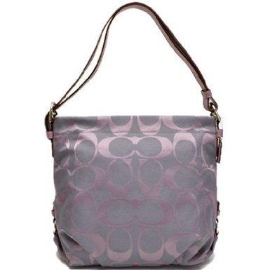 Authentic Coach Purple 24CM Signature Hobo Duffle Bag Heather Lilac 15067