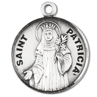 Sterling Silver Patron Saint Medal Round St. Patricia with 18