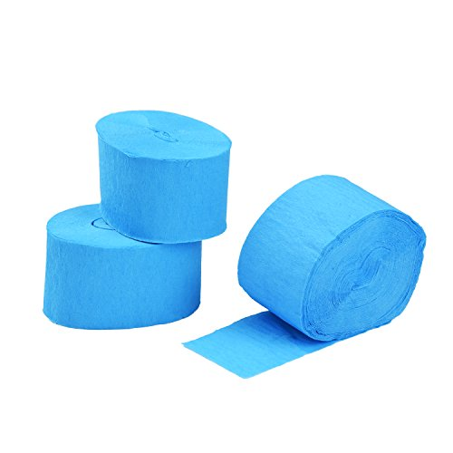 Blulu Crepe Paper Streamer for Birthday Party Decorations, Blue, 81 Feet, 3 Rolls (Party Decorations Crepe Paper compare prices)