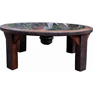Coffee Table With Wagon Wheel Frame Glass Kitchen Dining