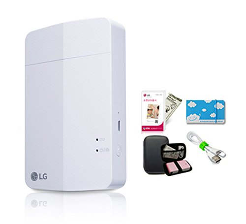 LG-PD251-Pocket-Photo-Printer-3-White-Hade-Case-Photo-Paper-10-sheets-USB-charger-mini-album