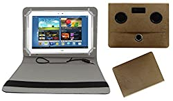 ACM PORTABLE 360 DEGREE ROTATING ROTATE MUSIC SPEAKER & LEATHER FLIP COVER FOR SAMSUNG GALAXY NOTE N8000 TABLET CASE HOLDER COVER STAND - GOLDEN