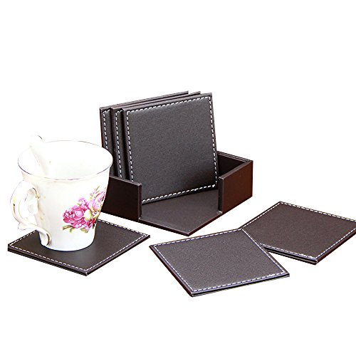 SMONET PU Dark Leather Square Drink Coasters Cup Mats, Set of 6 Brown PU Leather Drink Coasters with Coaster Holder Set Home Office Hotel Use (Color: Sleek Brown, Size: 4 x 4