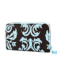 Quilted Damask Print Zip Around Wallet with Wrist Strap - Blue/Brown