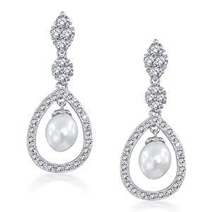 Bling Jewelry Bridal Pearl Drop Earrings Pave CZ Silver Teardrop Chandelier
