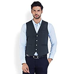 Park Avenue Men's Cotton Waistcoat (8907253217402_PCVA00004-B6_42_Dark Blue)