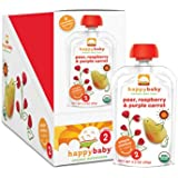 Happy Baby Organic Baby Food 2 Simple Combos, Pears, Raspberries & Carrots, 4 Ounce (Pack of 8)