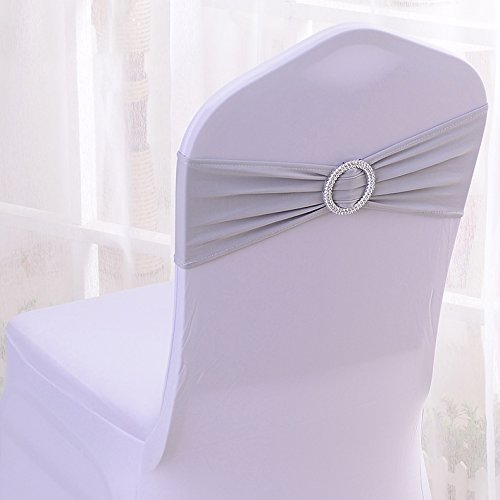 50PCS Stretch Wedding Chair Bands With Buckle Slider Sashes Bow Decorations 25 Colors (Gray)
