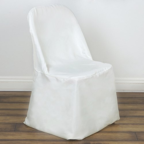 BalsaCircle 10 pcs Polyester Folding Flat CHAIR COVERS - Ivory