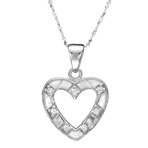 Sterling Silver 0.35 CTW Cubic Zirconia Heart Ladies Necklace. Length 15.5 in. Total Item weight 3.1 g.