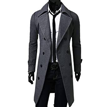 Buy Zeagoo Mens Winter Double Breasted Long Jacket by Zeagoo