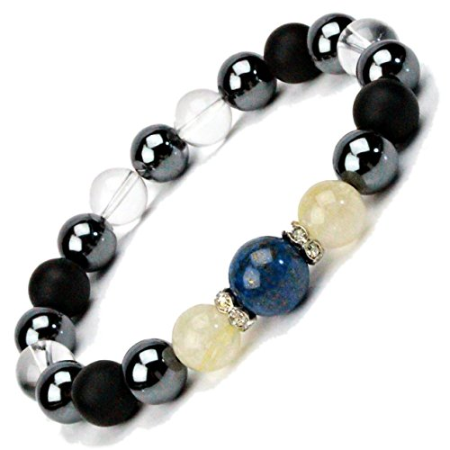 This Crystal White Dragon carving large 10 mm men's natural stone stones bracelet ★ success luck & out SEI & favours luck & money & is a tough job luck ★ Amethyst & Hematite and Onyx & Smokey Quartz ★ in Zhou size approximately 17-