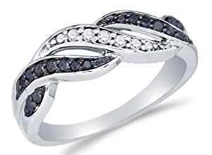 Size 8 - 10K White Gold Channel Set Round Cut Black and White Diamond Ladies Womens Engagement Ring OR Fashion Band (1/4 cttw.)