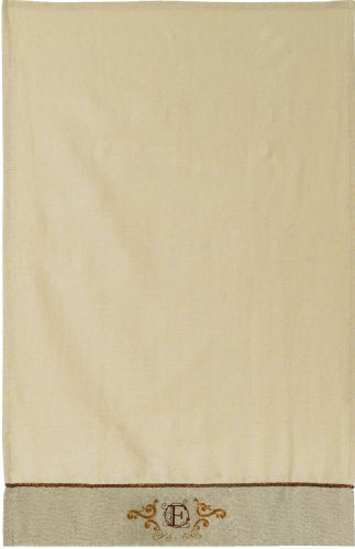 Grasslands Road Cucina Monogram Letter Initial F Embroidered Scrollwork Tea Towels, Set Of 2