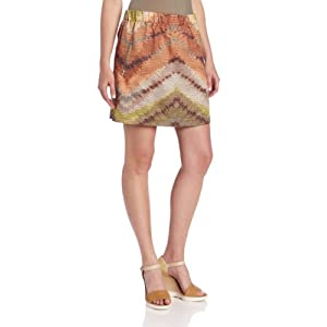 Tracy Reese Women's Zig Zag Rafia Easy Mini Skirt, Tobacco, Large