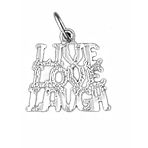 Dazzlers Solid 14 karats Gold Live Love Laugh Charm Pendant available in three colors from jewelsberry (weights: 0.7 grams only)