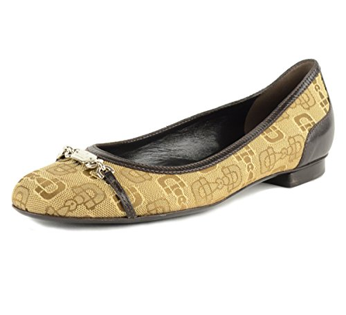 Gucci Shoes Horsebit Print Canvas Brown Leather Flats Logo Signature Hardware