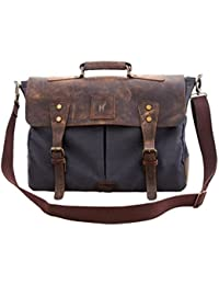 "Leather Bag Genuine Vintage 16"" Laptop Canvas Messenger Satchel Briefcase Bag Grey 16""(L)X12""(H) X 4""(W) By Pranjals..."