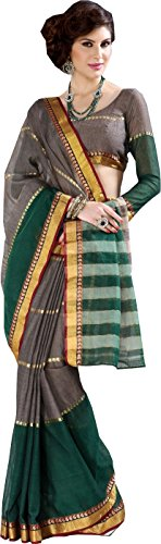 Charming Grey Green Ethnic Wear Saree Zari Work Cotton Sari