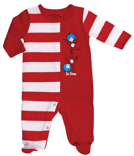 Bumkins Dr. Seuss Footed Sleeper, Red Stripe