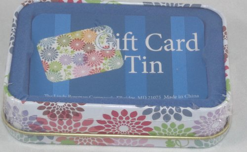 Tin gift card holder box multi color flowers arts