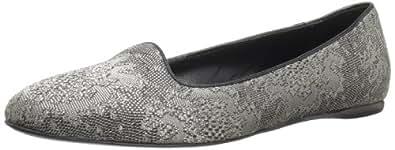 Delman Women's Sirri-ML Flat,Black/Silver Metallic,6 B US