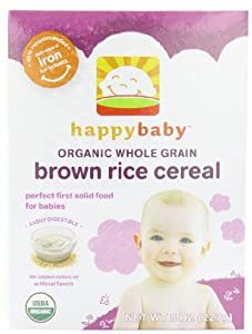 Happy Baby Whole Grain Cereal, Brown Rice, 8 Ounce