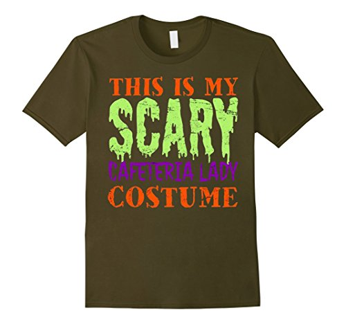 Men's This is my Scary Cafeteria Lady Costume Shirt. Large Olive (2)