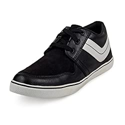 PAN Mens G06 BLACK Fabric Casual Shoe-8 UK