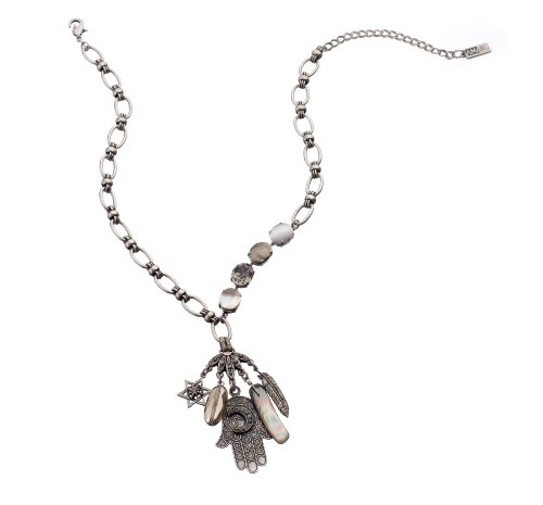 Amaro Jewelry Studio 'Release' Collection .925 Silver Plated Chain with Hamsa, Star of David and Feather Charms Set with Labrador, Hematite, Pyrite and Swarovski Crystals