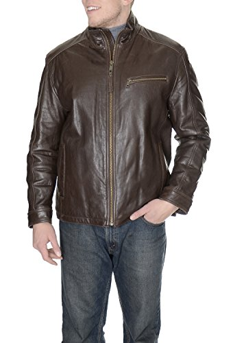 Marc New York Solid Genuine Leather Motorcycle Jacket Coat (Mark New York Leather compare prices)