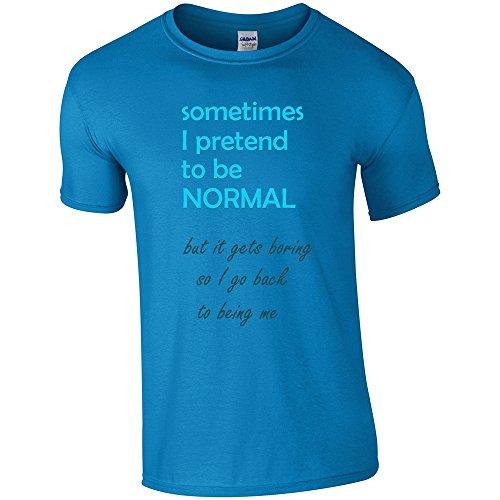 Divertente 018, I Pretend to be Normal, Sapphire Gildan Softstyle Youth Ringspun T-shirt Blu Bambino Ragazze Maglietta Kids Girls Tee Top con Design Colorato. Taglia Medium, 7-8 Anni.