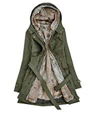 Bestal Women's Thicken Faux Fur Hooded Coat Jeans Jacket Parka Outerwear