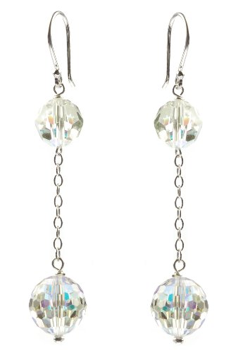 Sterling Silver Swarovski Elements Crystal Aurora Borealis 8mm and 10mm Faceted Round Long Drop Earrings