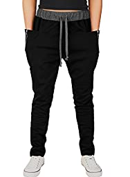 HEMOON Men\'s Jogging Pants Tracksuit Bottoms Training Running Trousers #1-Black S