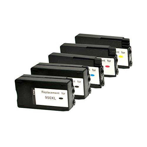 Set Tintenpatronen für HP 950XL 951XL 2xBK 1xC,M,Y mit Füllstandsanzeige - BK je 2.300 S.,Color je 1.500 S., kompatibel zu CN045 - 48AE