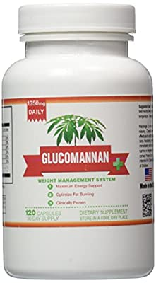 100% Pure Glucomannan Extract - Pure Konjac Root for Weight Loss - 1 Month Supply - 1350mg