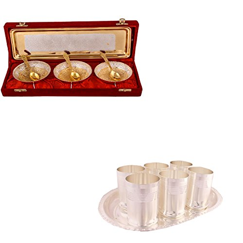 Silver & Gold Plated 3 Heavy Flower Bowl With Spoon And Tray And Silver Plated 6 Premium Glass Set With Oval Tray