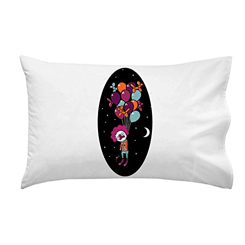 """Last Laugh"" Suicide Clown Hung From Helium Balloons - Pillow Case Single Pillowcase front-1059964"
