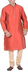 Kisah Men's Cotton Silk Kurta (KA-S-067K-40_Red_40)