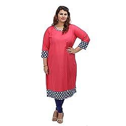 Damyantii Women's Plus Size Straight Pink Cotton XXL Kurta
